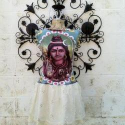 Hare Krishna Lord Shiva Wearable Art Funky Eco Upcycled Dress